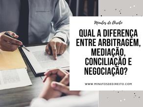 Qual a diferença entre arbitragem, mediação, conciliação e negociação?