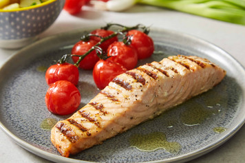 Grilled Salmon Fillet with Roasted Vine Cherry Tomatoes