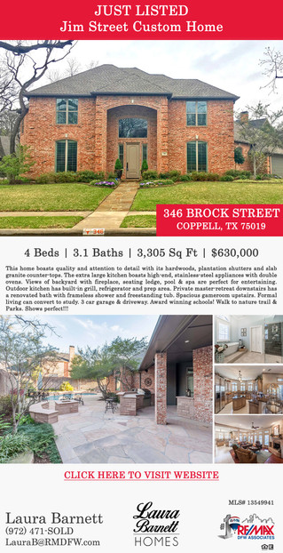 Featured Listing: 346 Brock Street, Coppell, TX 75019