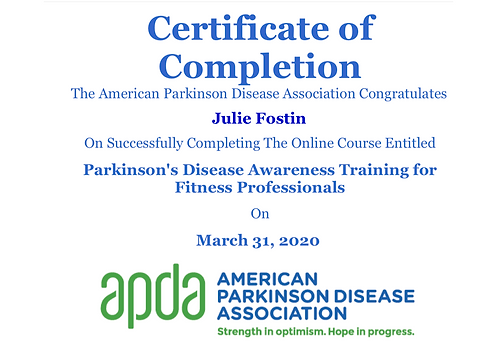 APDA Fitness Certificate of Completion c
