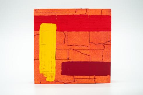 Karon, 2020. Acrylic, masking tape and shoe polish on panel. 5 x 5 in.