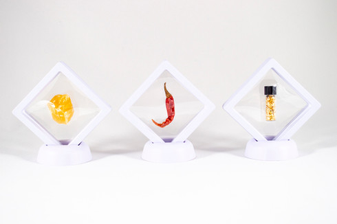 Courage, 2019. Calcite (orange), chili and gold.