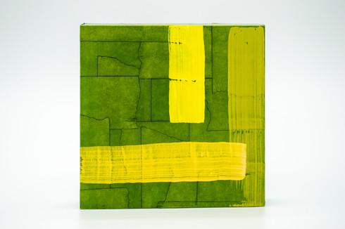 Phra Kaeo, 2020. Acrylic, masking tape and shoe polish on panel. 5 x 5 in.