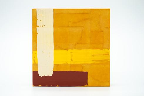 Doi Suthep, 2020. Acrylic, masking tape and shoe polish on panel. 5 x 5 in.