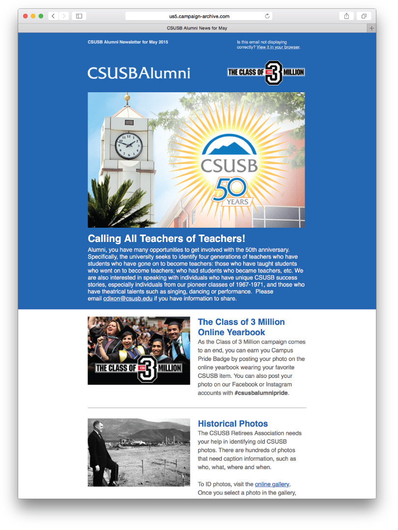CSUSB Alumni May Newsletter (Email)