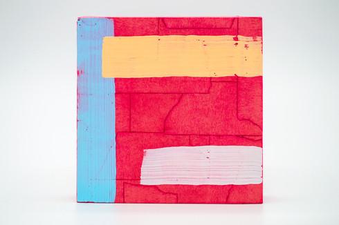 Amphawa, 2020. Acrylic, masking tape and shoe polish on panel. 5 x 5 in.