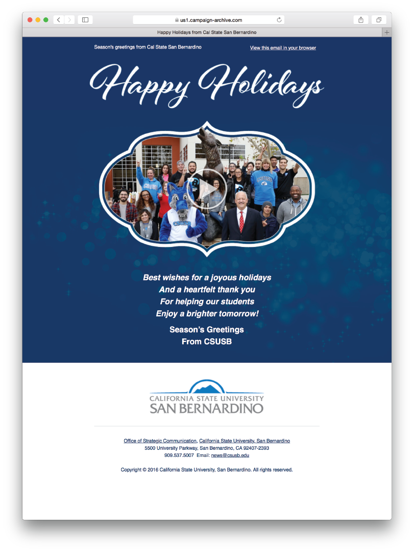 Happy Holidays from CSUSB (Email)