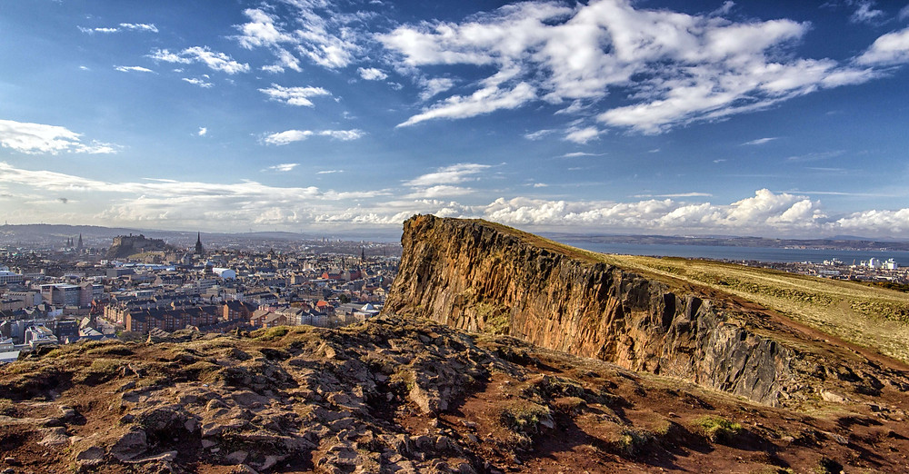 View of Edinburgh from the Salisbury Crags in Holyrood Park