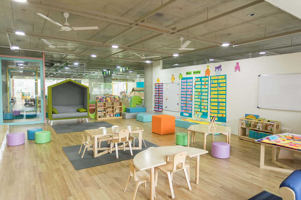 Nursery with wooden tables and bright colours