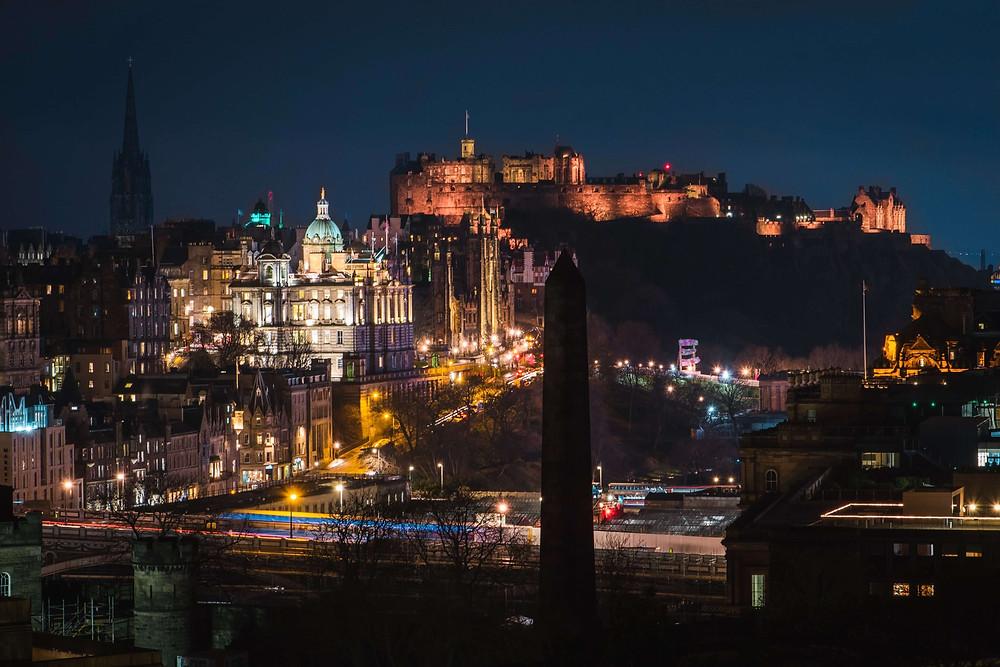 Edinburgh skyline, featuring the castle, at night