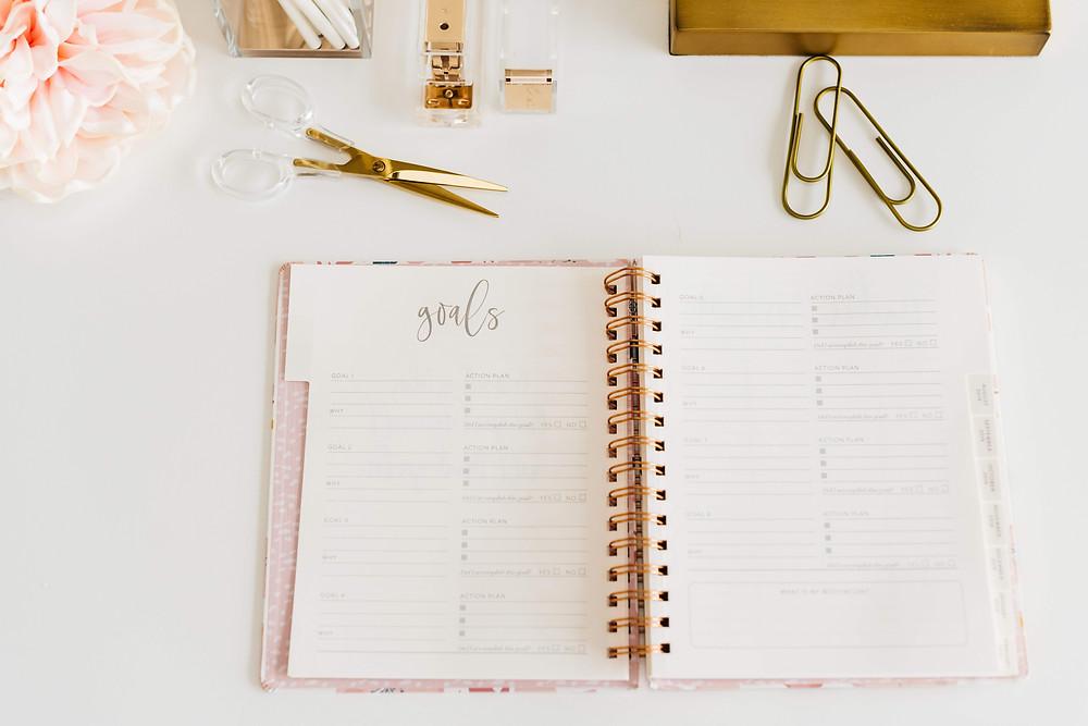 Notebook lying open on desk