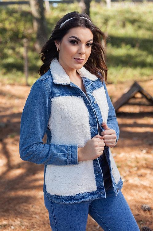 Jaqueta jeans com pele carneirinho