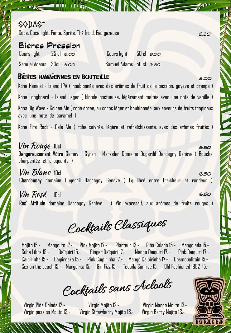 Carte des cocktails Tiki Rock Bar page 3