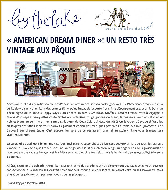 By The Lake American dream diner Un resto vintage aux Paquis
