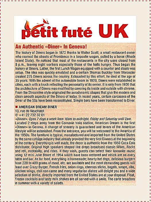 Petit Futé Uk An authentic Diner In Geneva ! American ream Diner