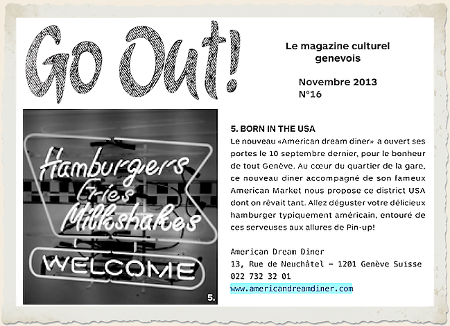 Go Out ! Born in the USA American Dream Diner