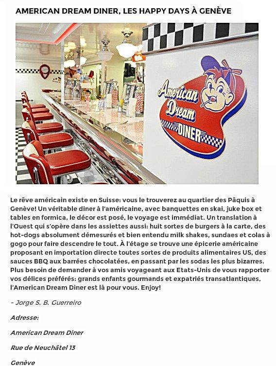 American Dream Diner, Les Happy Dayà Genève