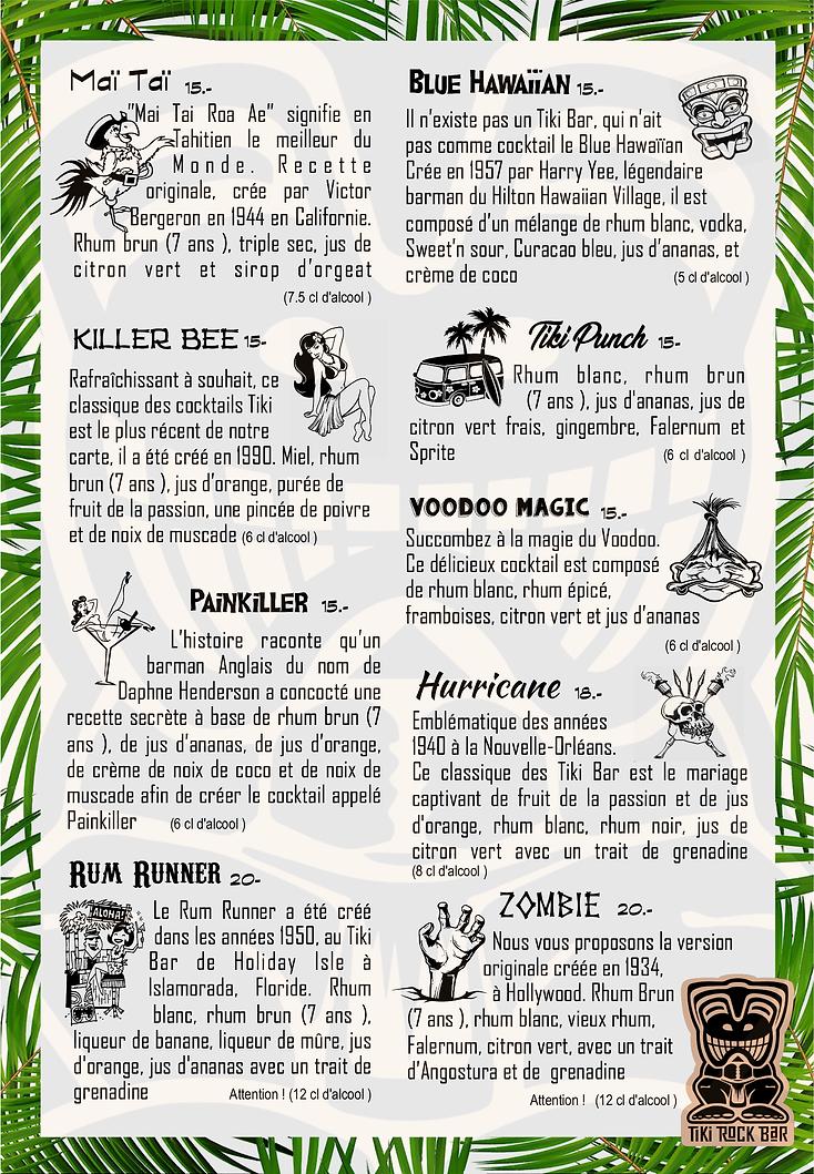 Carte des cocktails Tiki Rock Bar page 1