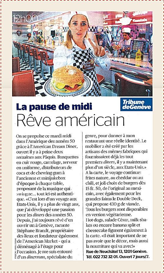 Tribune de Genève la pause dev midi Rêve américain American Dream Diner