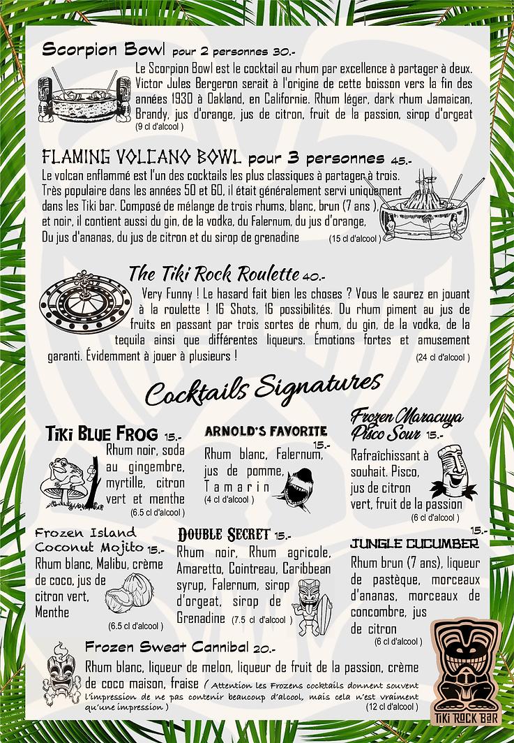 Carte des cocktails Tiki Rock Bar page 2