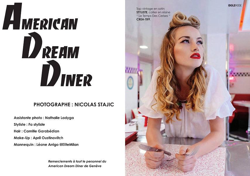 Shooting photos à l'American Dream Diner - Photographe : Nicolas Stajic, Modèle : Léane Arrigo