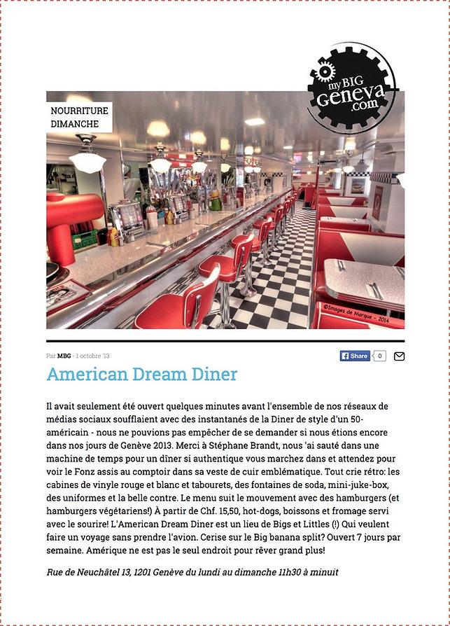 My Big Geneva nourriture dimanche Amereican Dream Diner Genève