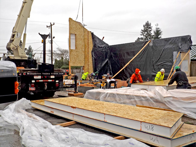 Moving walls into place