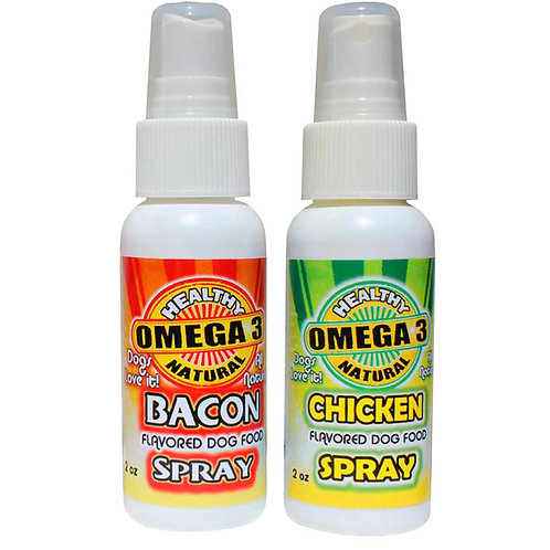 2 Bottle Deal Bacon Spray and Chicken Flavored Omega 3 Spray