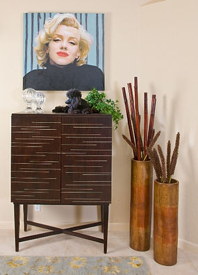 Inlaid wood Wine Bar with Marilyn Monroe Painting