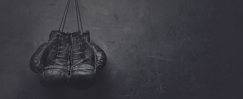 An image of boxing gloves hanging from a boxing ring. This image heads the Hungry4Fitness boxing blog page.