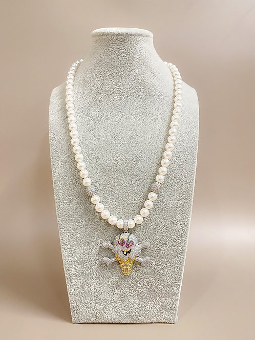 CZ Diamond IceCream Necklace (SP)