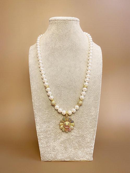 CZ Diamond Rainbow Flower Necklace (SP)