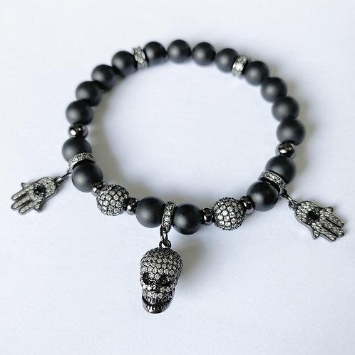 CZ Diamond Skull / Hamsa Bracelet (MO)