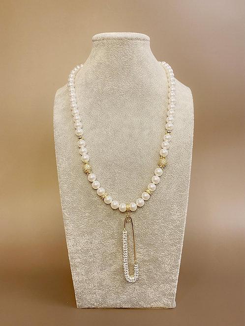CZ Diamond Gold Pin Necklace (SP)