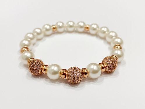 Classic CZ Diamond Swarovski Pearl Bracelet (SP)