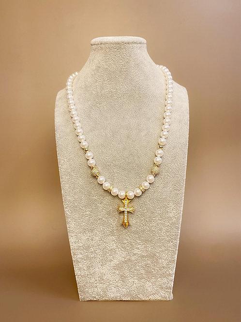CZ Diamond Gold Cross Necklace (SP)