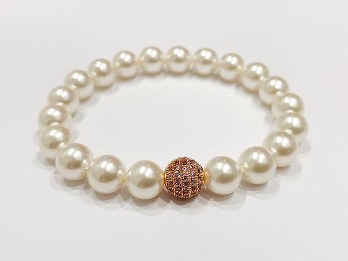 CZ Diamond Swarovski Pearl Bracelet (SP)