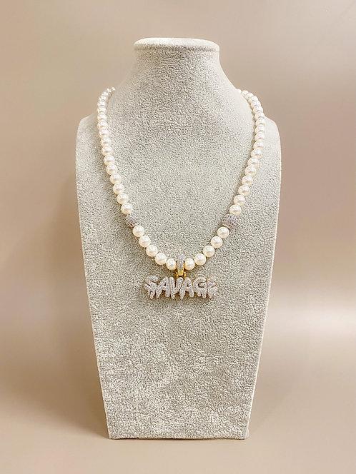 CZ Diamond SAVAGE Necklace (SP)