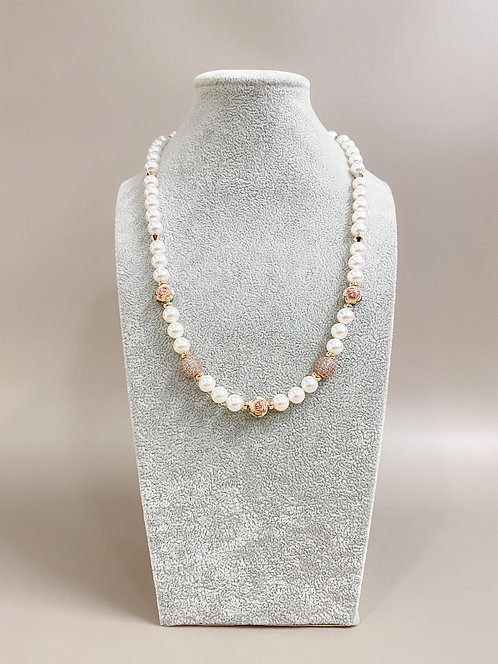 CZ Diamond Flower Necklace (SP)