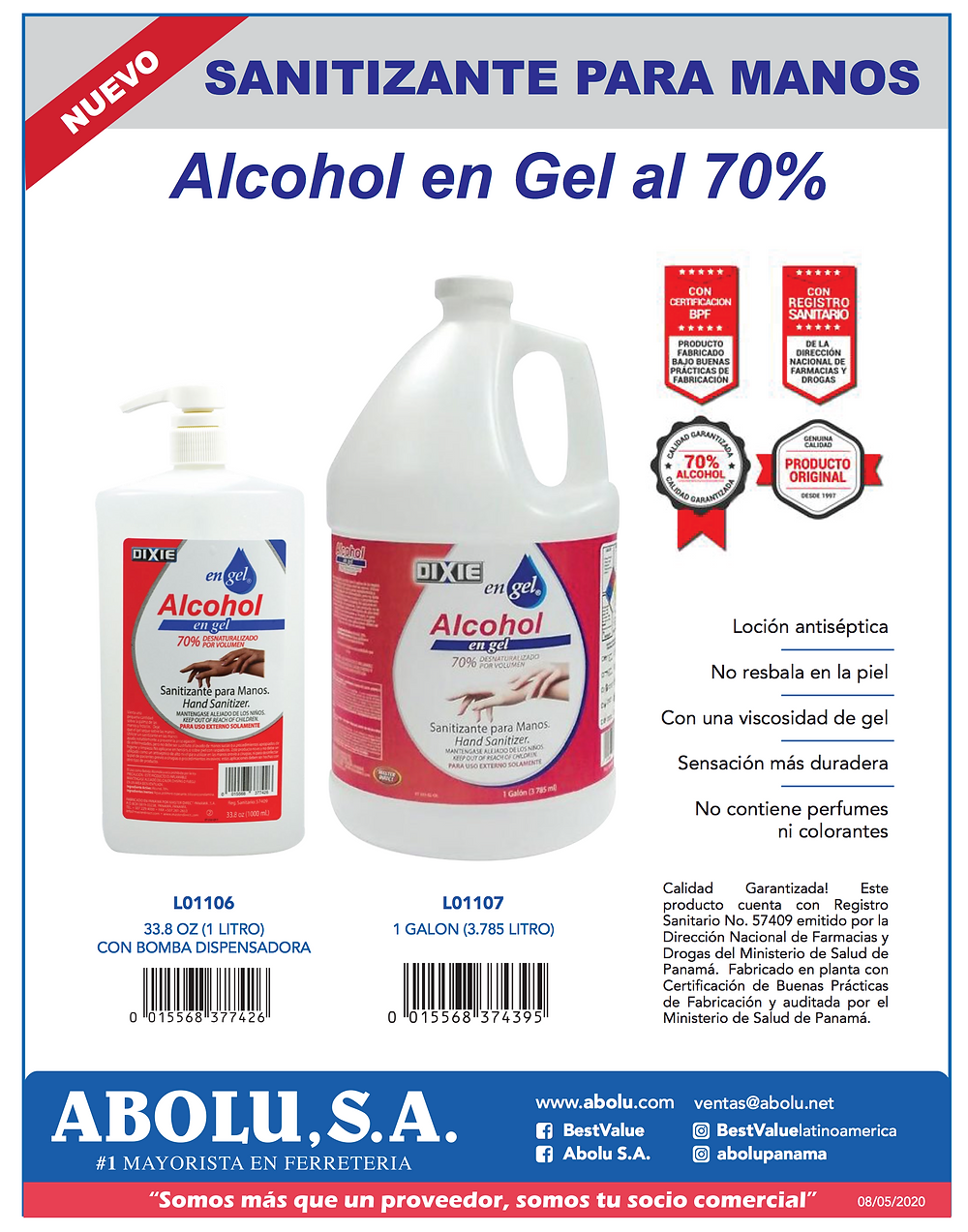 Sanitizante de alcohol en gel para manos