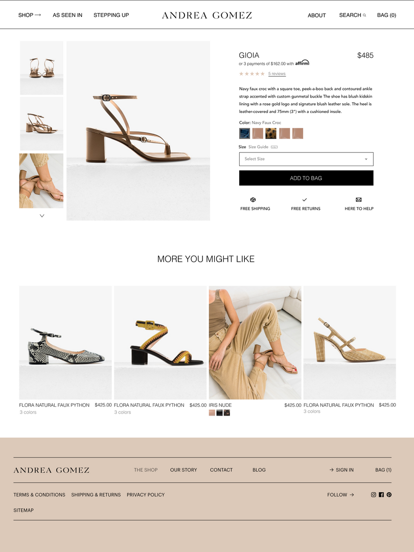 Andrea Gomez Product Page