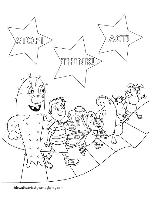 FREE code is STA. Stop Think Act Coloring Page