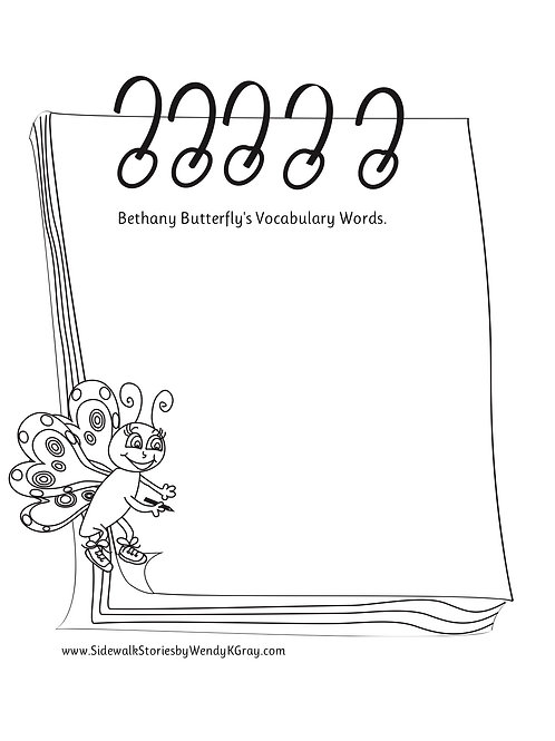 FREE code is BLANK. Bethany Butterfly's Blank Vocabulary Page