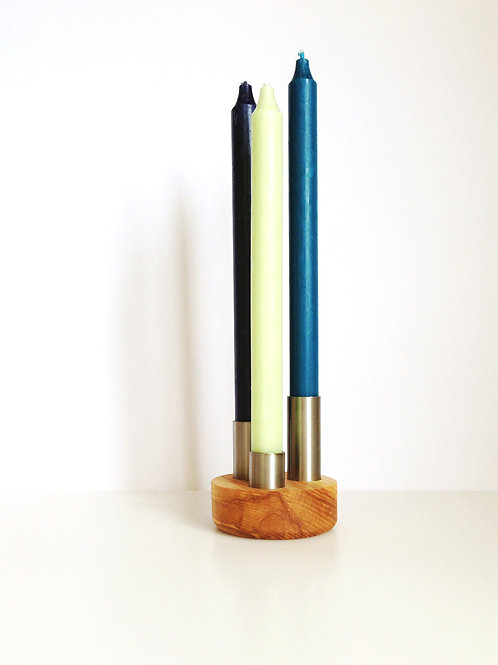 'oh' Triple Candle Holder - Stainless