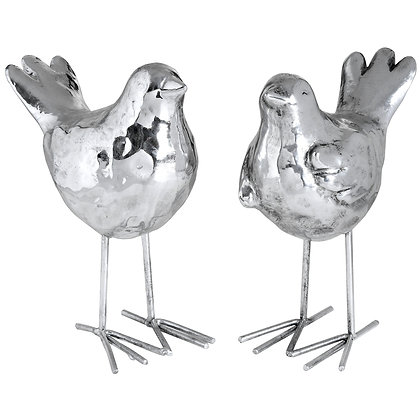 Set of Two Resin Birds in Silver Finish