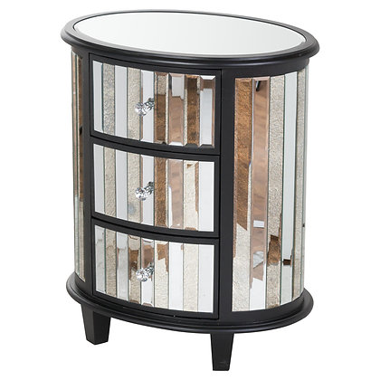 Soho Black Collection Oval 3 Drawer Unit