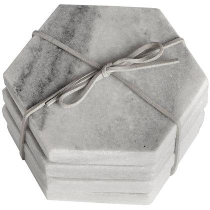 Grey Marble Hexagonal Coasters