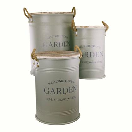 Set of Three Potting Shed Green Round Storage Tins
