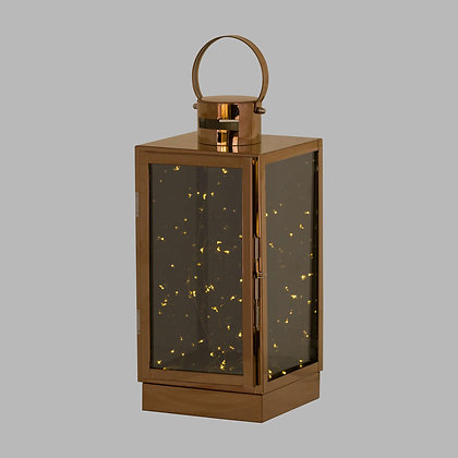 Large Copper Lantern With Led Micro Lights
