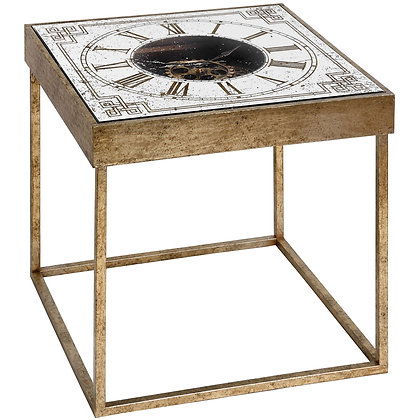 Mirrored Square Framed Clock Table With Moving Mechanism